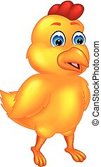 cute little chick cartoon standing with smiling