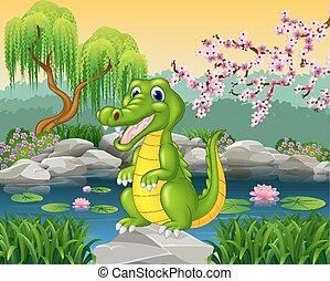 Cute little crocodile presenting - Vector illustration of...