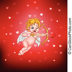 Cute little cupid aiming at someone