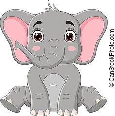 Cute little elephant cartoon sitting