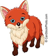 Cute little fox cartoon on white background