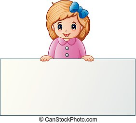 Cute little girl behind blank sign
