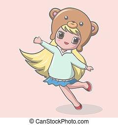 Cute little girl cartoon in bear hat