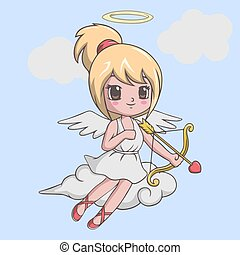 Vector illustration of Cute little girl cupid with bow and arrow