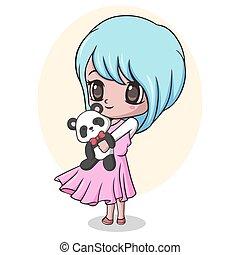 Vector illustration of Cute little girl holding panda doll