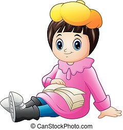 Cute little girl in pink clothes reading a book