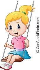 Cute little girl playing a swing