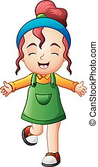 Cute little girl smiling in jumpsuit