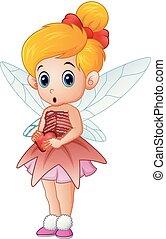 Vector illustration of Cute little love fairy holding a heart