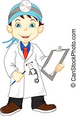 cute little male doctor - vector illustration of cute little...