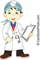 cute little male doctor - vector illustration of cute little...