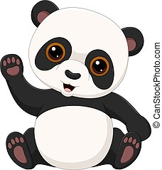 Cute little panda waving isolated on white background