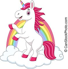 Cute little pony unicorn on clouds and rainbow