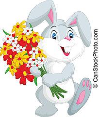 Cute little rabbit cartoon holding