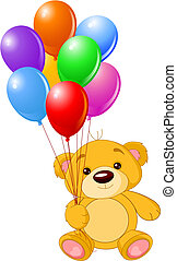 Teddy bear holding colorful balloons