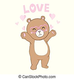 Vector illustration of cute little Teddy bear holding red heart.