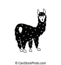 Vector illustration of cute llama - Vector illustration of ...