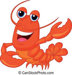 Vector illustration of Cute lobster cartoon presenting