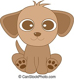 vector illustration of cute looking brown dog with big eyes and big ears