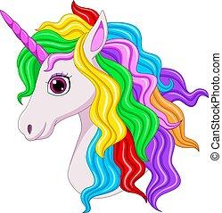 Cute magical unicorn head cartoon