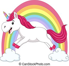 Cute magical unicorn walking on the clouds and rainbow