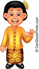 cute malaysian women cartoon standing with smile and waving