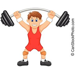 cute man athlete doing weightlifter