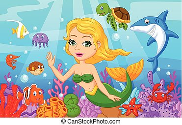 Cute mermaid cartoon with fish coll