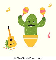 Vector illustration of cute Mexican cactus in pot