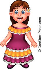 cute mexican girl cartoon standing with smiling and waving
