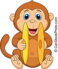 Cute monkey cartoon playing cymbal