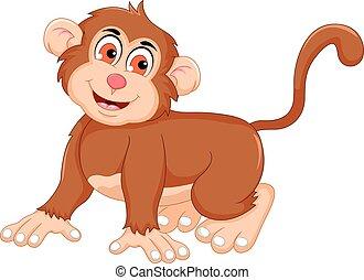 cute monkey cartoon posing