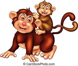 cute monkey cartoon posing with smiling