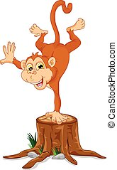 Cute monkey cartoon standing
