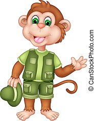 cute monkey cartoon standing with laughing and waving