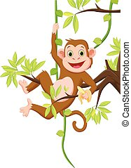 cute monkey hanging on a tree and holding banana