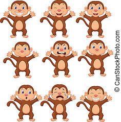Vector illustration of Cute monkeys cartoon in various expression