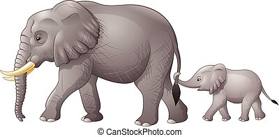 Cute mother and baby elephant