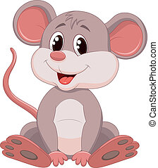 Vector illustration of Cute mouse cartoon