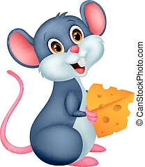 Cute mouse cartoon holding a piece