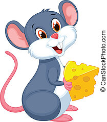 Vector illustration of Cute mouse cartoon holding a piece of cheese