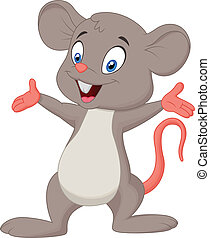 Cute mouse cartoon presenting - Vector illustration of Cute...