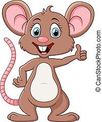 Cute mouse cartoon thumb up