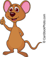 Cute mouse cartoon thumb up