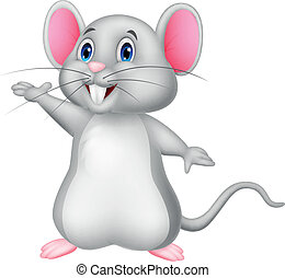 Vector illustration of Cute mouse cartoon waving