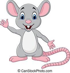 Cute mouse cartoon waving hand