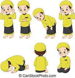 Cute muslim boy perform prayer steps
