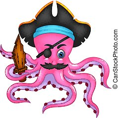 cute occtopus cartoon posing with bring wooden sword and smile
