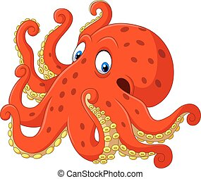 Cute octopus cartoon on white background