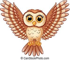 Cute owl cartoon flying